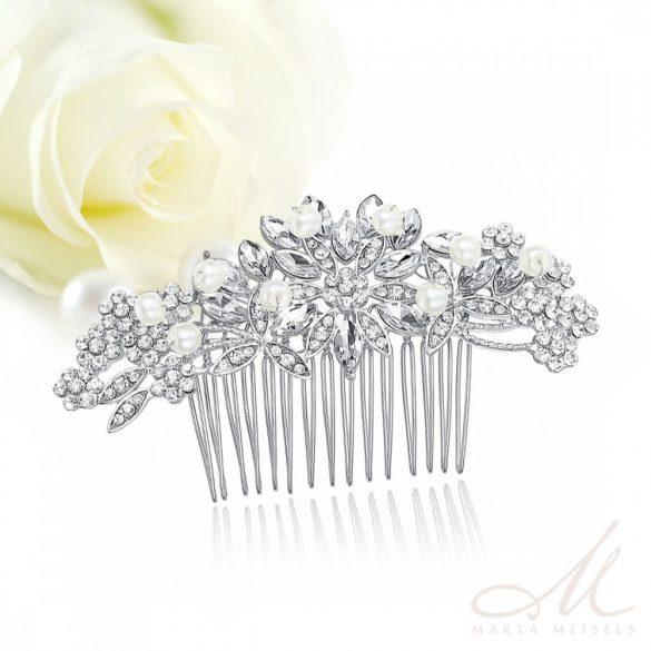 Csillogó menyasszonyi fésű gyöngyökkel és kristályokkal díszítve MET-MM-B157