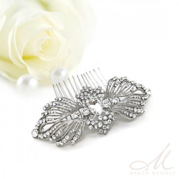Vintage stílusú, angyalszárny alakú kristályokkal díszített menyasszonyi fésű MET-MM-B250