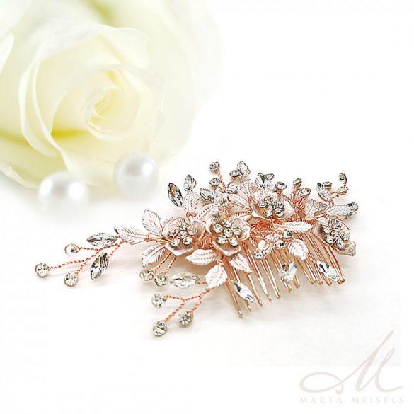 Rozé arany virágokkal díszített romantikus menyasszonyi fésű MET-MM-B270RG