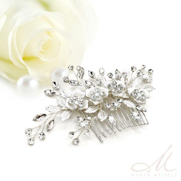 Ezüst virágokkal díszített romantikus menyasszonyi fésű MET-MM-B270WG