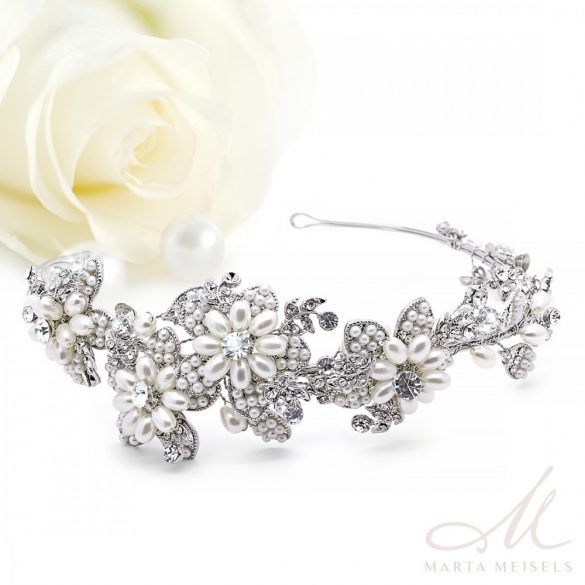 Kézzel készült kristályokkal és gyöngyökkel díszített menyasszonyi hajpánt MET-RE-B123