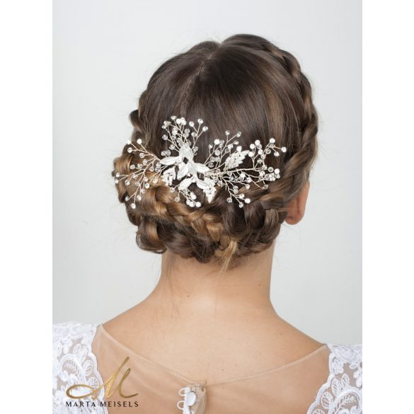 Ezüst színű rezgő virágos hajlítható menyasszonyi hajdísz MET-RE-B1906