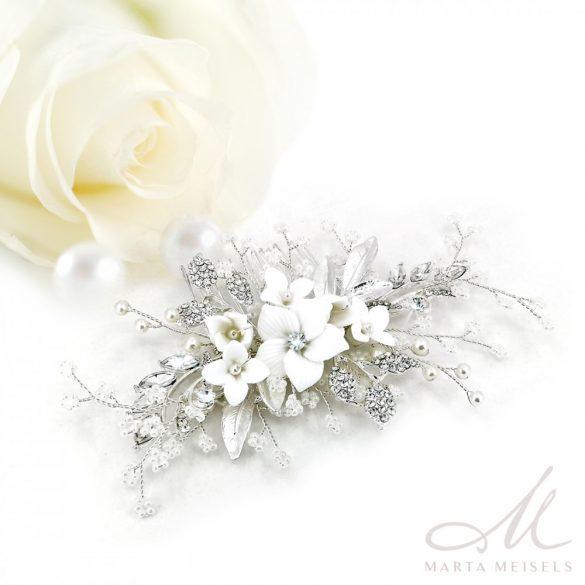 Apró gyöngyökkel és kristályokkal díszített virágos menyasszonyi fésű MET-RE-B1912