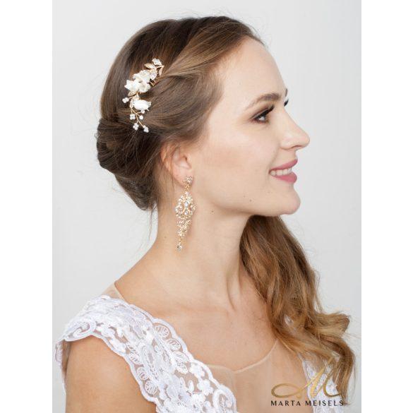 Rozé arany színű harangvirággal díszített menyasszonyi hajdísz MET-RE-B901RG