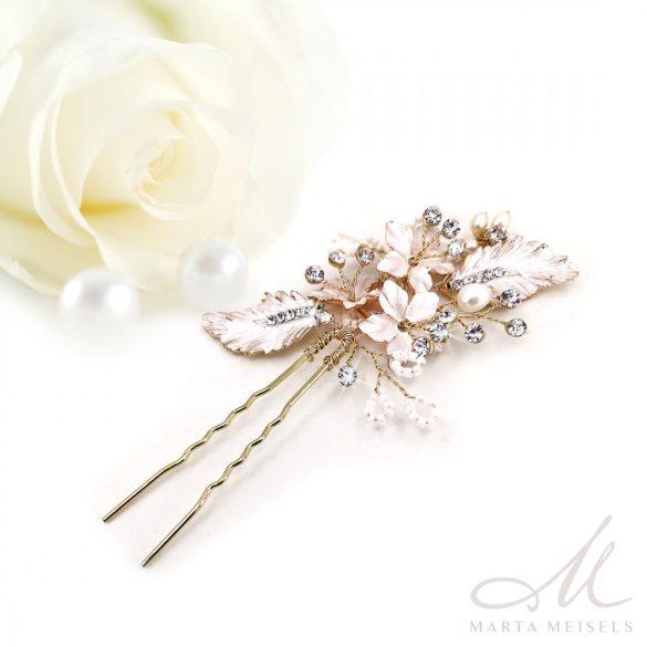 Rozé arannyal díszített virágos menyasszonyi hajtű MET-RE-B917