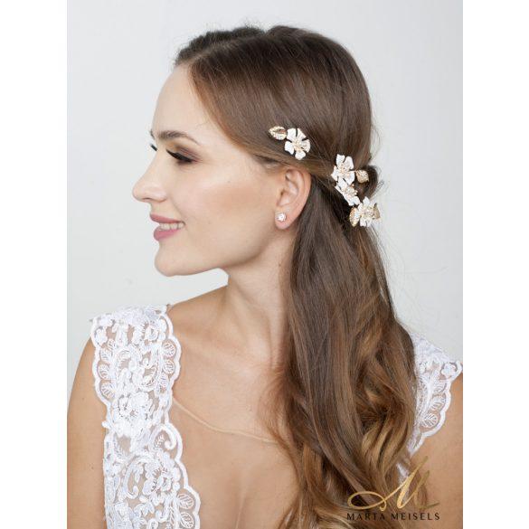 3 db-os rozé arany színű, virágos menyasszonyi hajtű MET-RE-B924