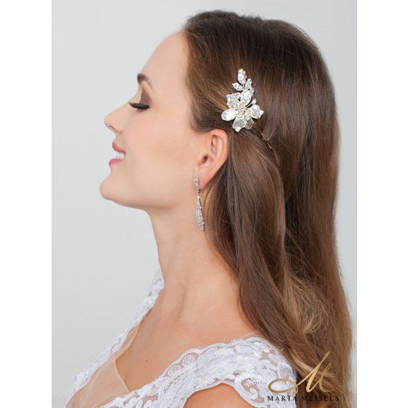 Ezüst virágos trendi menyasszonyi hajtű MET-RE-B933