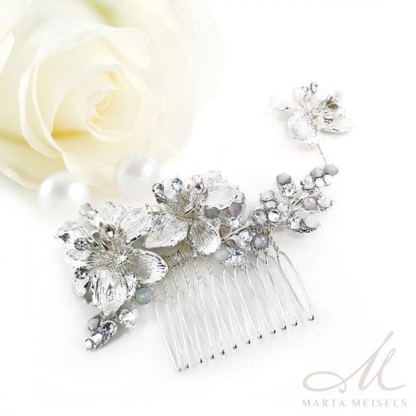 Ezüst virágos trendi menyasszonyi hajfésű MET-RE-B934