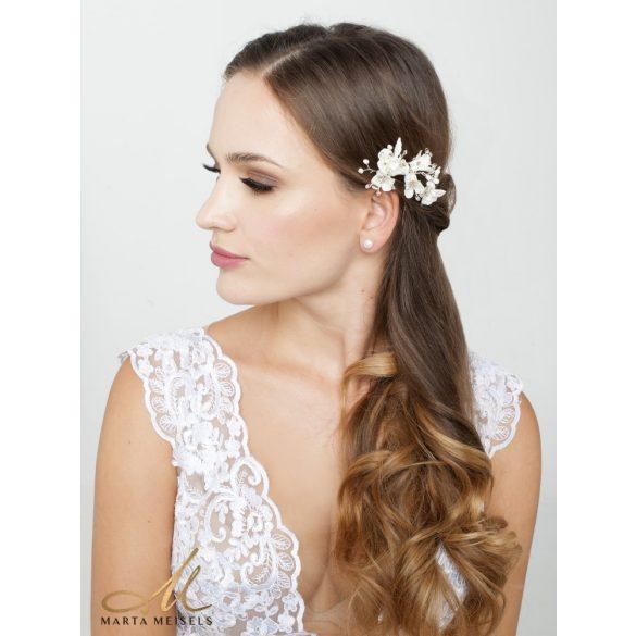 3 db-os fehér virágos strasszköves menyasszonyi hajtű MET-RE-B937