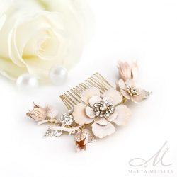 Különleges púder rózsaszín, virágos menyasszonyi hajdísz MET-RE-B953