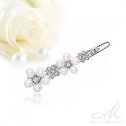 Kecses, virágdíszes menyaszonyi hajcsat gyöngyökkel és kristályokkal díszítve MET-TM-B08