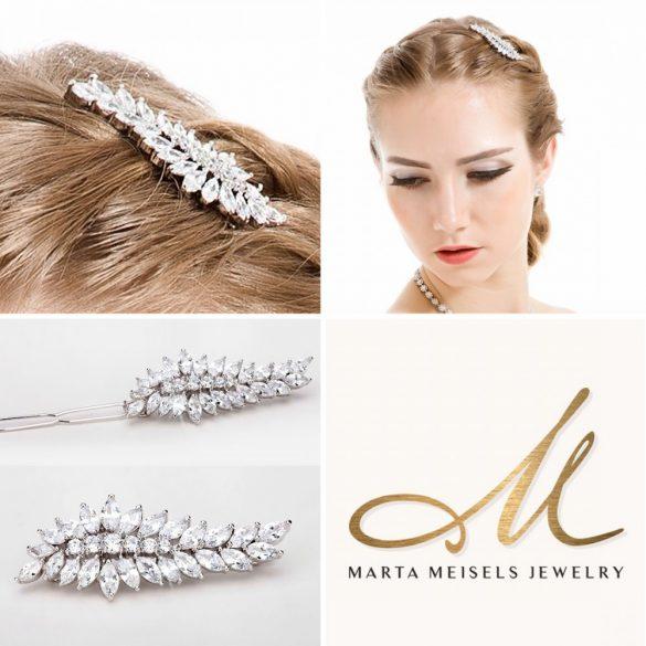 Luxus menyaszonyi hajcsat cirkónia kristályokkal díszítve MET-TM-B12