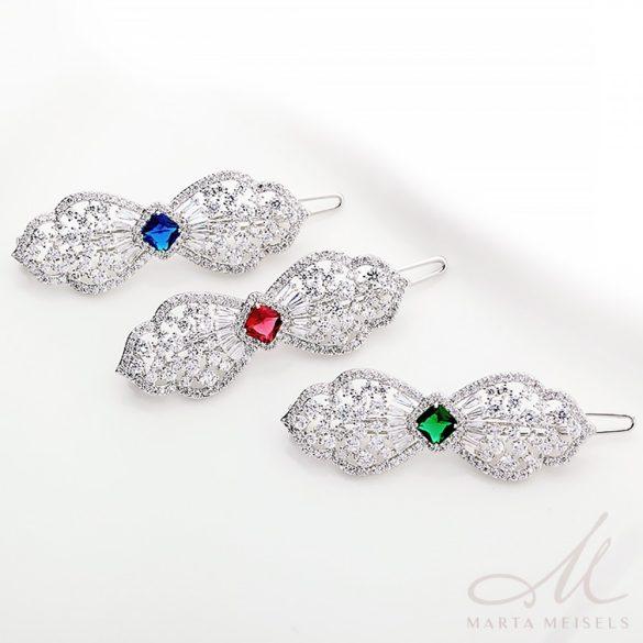 Luxus kidolgozású esküvői hajdísz királykék és fehér kristályokkal MET-TM-B1813