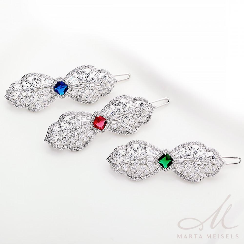 Luxus kidolgozású esküvői hajdísz királykék és fehér kristályokkal MET-TM -B1813 90b8c030dc