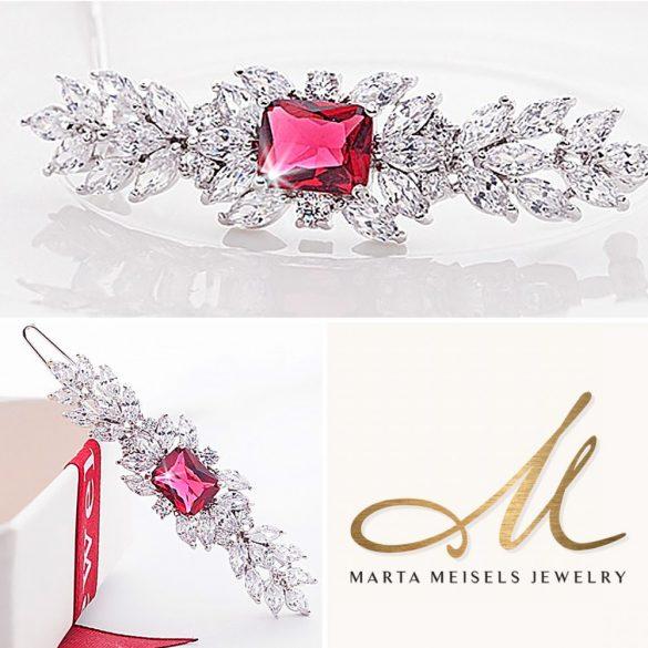 Romantikus stílusú menyaszonyi hajcsat rubinvörös és fehér kristályokkal díszítve MET-TM-B1814R