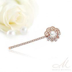 Luxus kidolgozású rozé arany színű menyasszonyi hajcsat kristályokkal és gyönggyel MET-TM-B821RG