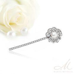 Luxus kidolgozású menyasszonyi hajcsat kristályokkal és gyönggyel díszítve MET-TM-B821WG