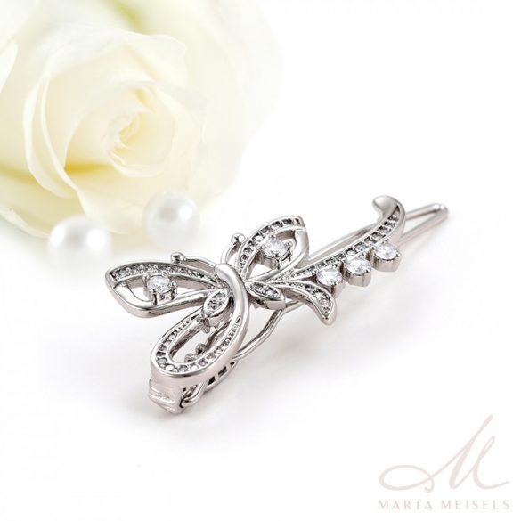 Különleges pillangó mintájú esküvői hajcsat kristályokkal díszítve MET-XP-B233