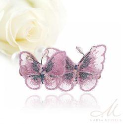 Rózsaszín lepkés hajcsat kristályokkal díszítve MET-XP-B607P